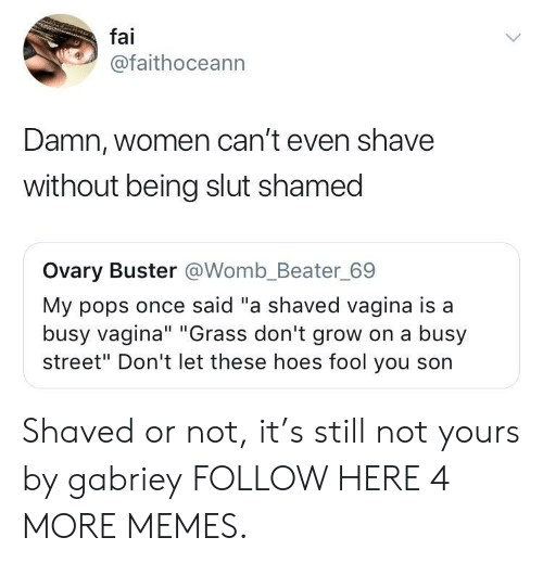 """Dank, Hoes, and Memes: fai  @faithoceann  Damn, women can't even shave  without being slut shamed  Ovary Buster @Womb_Beater_69  My pops once said """"a shaved vagina is a  busy vagina"""" """"Grass don't grow on a busy  street"""" Don't let these hoes fool you son Shaved or not, it's still not yours by gabriey FOLLOW HERE 4 MORE MEMES."""