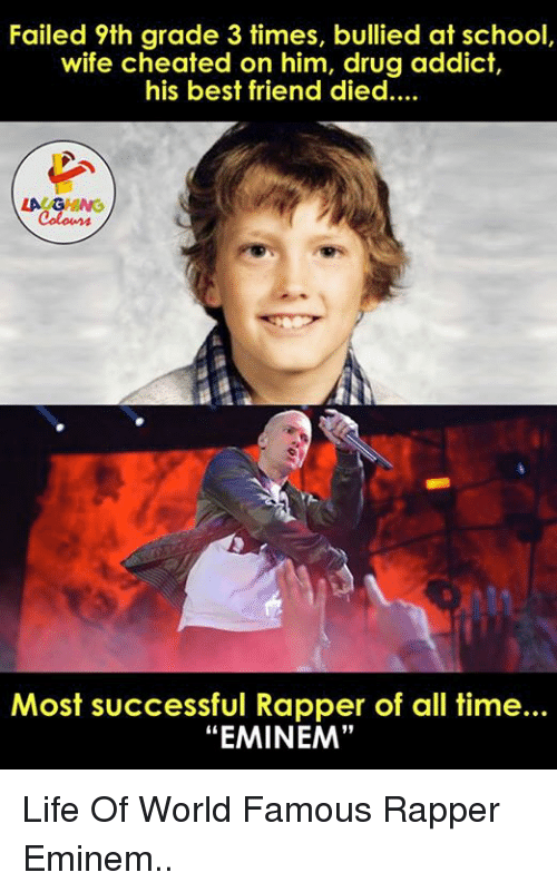 """Wife Cheated: Failed 9th grade 3 times, bullied at school,  wife cheated on him, drug addict  his best friend died....  Most successful Rapper of all time...  """"EMINEM"""" Life Of World Famous Rapper Eminem.."""