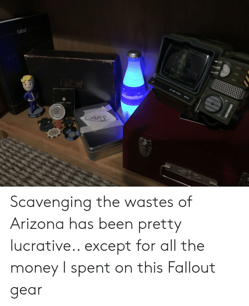 Money, Arizona, and Fallout: Fallcut  ftt  Fallnt  GAS  21  PLAYING CARDS  CAPS  VAULT-TE  OGX0  38 Scavenging the wastes of Arizona has been pretty lucrative.. except for all the money I spent on this Fallout gear