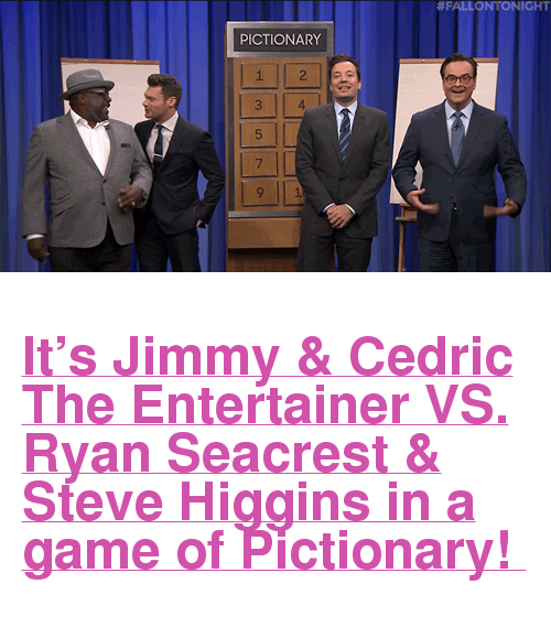 """Ryan Seacrest, Target, and youtube.com:  #FALLON NIGHT  PICTIONARY  1  3  5  7  4 <h2><a href=""""https://www.youtube.com/watch?v=udiob8yH7TE"""" target=""""_blank"""">It's Jimmy &amp; Cedric The Entertainer VS. Ryan Seacrest &amp; Steve Higgins in a game of Pictionary!</a></h2>"""