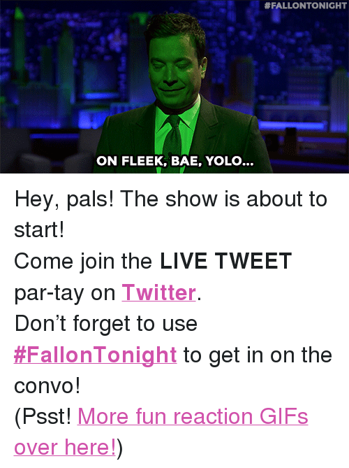 """reaction gifs:  #FALLONTONIGHT  ON FLEEK, BAE, YOLO... <p>Hey, pals! The show is about to start!</p><p>Come join the <b>LIVE TWEET</b> par-tay on <b><a href=""""http://twitter.com/fallontonight"""" target=""""_blank"""">Twitter</a></b>.</p><p>Don't forget to use <b><a href=""""https://twitter.com/search?f=realtime&amp;q=%23FallonTonight&amp;src=typd"""" target=""""_blank"""">#FallonTonight</a></b> to get in on the convo!</p><p>(Psst! <a href=""""http://fallontonightgifs.tumblr.com"""" target=""""_blank"""">More fun reaction GIFs over here!</a>)</p>"""