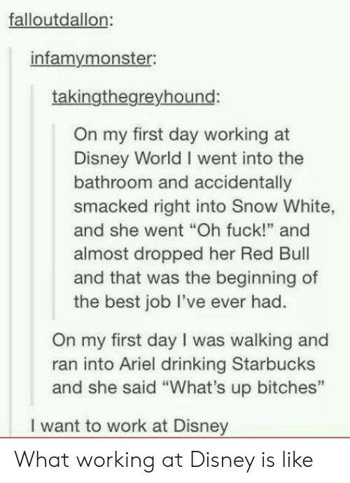 """Ariel, Disney, and Disney World: falloutdallon  infamymonster:  takingthegreyhound:  On my first day working at  Disney World I went into the  bathroom and accidentally  smacked right into Snow White,  and she went """"Oh fuck!"""" and  almost dropped her Red Bul  and that was the beginning of  the best job lI've ever had.  On my first day I was walking and  ran into Ariel drinking Starbucks  and she said """"What's up bitches""""  I want to work at Disney What working at Disney is like"""