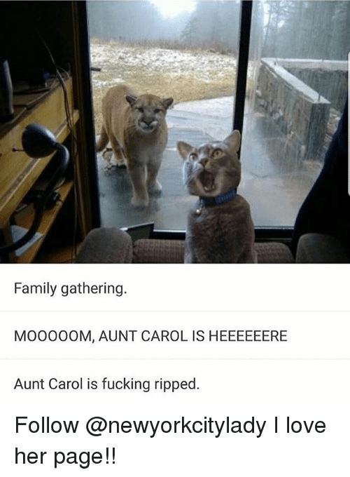 Family, Fucking, and Love: Family gathering  MOO00OM, AUNT CAROL IS HEEEEEERE  Aunt Carol is fucking ripped Follow @newyorkcitylady I love her page!!