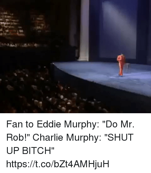 "Bitch, Charlie, and Charlie Murphy: Fan to Eddie Murphy: ""Do Mr. Rob!""   Charlie Murphy: ""SHUT UP BITCH"" https://t.co/bZt4AMHjuH"
