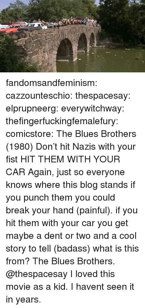 Tumblr, Blog, and Break: fandomsandfeminism:  cazzounteschio:  thespacesay:  elprupneerg:  everywitchway:  thefingerfuckingfemalefury:  comicstore: The Blues Brothers (1980) Don't hit Nazis with your fist  HIT THEM WITH YOUR CAR    Again, just so everyone knows where this blog stands  if you punch them you could break your hand (painful). if you hit them with your car you get maybe a dent or two and a cool story to tell (badass)  what is this from?  The Blues Brothers. @thespacesay   I loved this movie as a kid. I havent seen it in years.