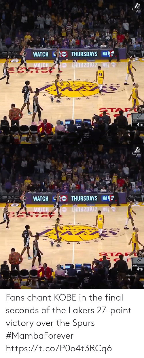 fans: Fans chant KOBE in the final seconds of the Lakers 27-point victory over the Spurs #MambaForever  https://t.co/P0o4t3RCq6