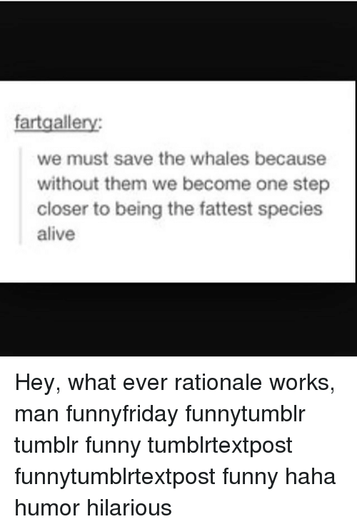 Memes, 🤖, and Species: fartgallery:  we must save the whales because  without them we become one step  closer to being the fattest species  alive Hey, what ever rationale works, man funnyfriday funnytumblr tumblr funny tumblrtextpost funnytumblrtextpost funny haha humor hilarious