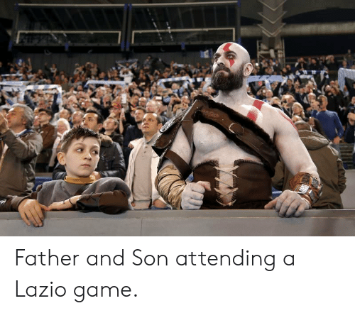 Attending: Father and Son attending a Lazio game.
