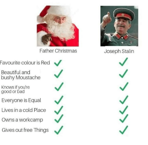 lives: Father Christmas  Joseph Stalin  Favourite colour is Red  Beautiful and  bushy Moustache  Knows if you're  good or bad  Everyone is Equal  Lives in a cold Place  Owns a workcamp  Gives out free Things  »>>>>>