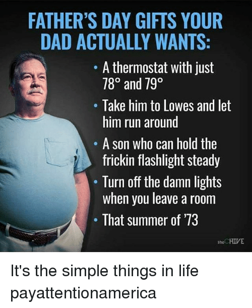 Dad, Fathers Day, and Life: FATHER'S DAY GIFTS YOUR  DAD ACTUALLY WANTS:  A thermostat with just  780 and 790  Take him to Lowes and let  him run around  A son who can hold the  frickin flashlight steady  Turn off the damn lights  when you leave a room  That summer of '73  HIVE  the It's the simple things in life payattentionamerica