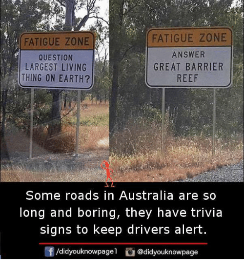 Memes, Australia, and Earth: FATIGUE ZONE  QUESTION  LARGEST LIVING  THING ON EARTH?  FATIGUE ZONE  ANSWER  GREAT BARRIER  REEF  Some roads in Australia are so  long and boring, they have trivia  signs to keep drivers alert  /didyouknowpagel @didyouknowpage