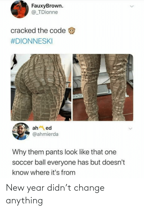 Cracked: FauxyBrown.  @ TDionne  cracked the code  #DIONNESKI  ah ed  @ahmierda  Why them pants look like that one  soccer ball everyone has but doesn't  know where it's from New year didn't change anything