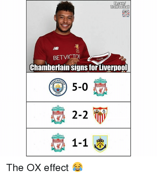 Memes, fb.com, and 🤖: Fb.com/  rollfootball  BETVICTOR  Chamberlain signs forLiverpoo  )5-0  CITY  VERPOO  1-1  IVERPOOL The OX effect 😂