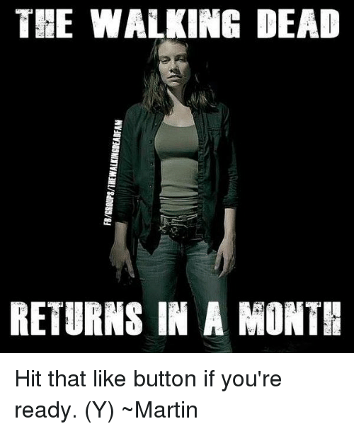 Martin, Memes, and The Walking Dead: FB/GROUPS/THEWALKINGDEABFA  THE WALKING DEAD  M  RETURNS IN A MONTH Hit that like button if you're ready. (Y) ~Martin