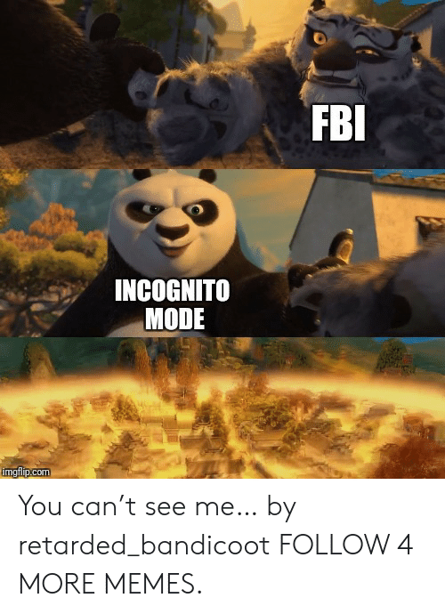 Dank, Fbi, and Memes: FBI  INCOGNITO  MODE  imgflip.com You can't see me… by retarded_bandicoot FOLLOW 4 MORE MEMES.