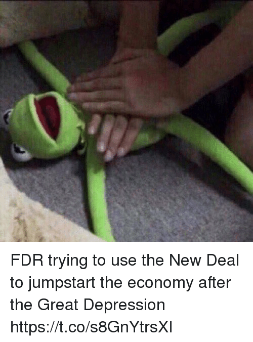 new deal: FDR trying to use the New Deal to jumpstart the economy after the Great Depression https://t.co/s8GnYtrsXI