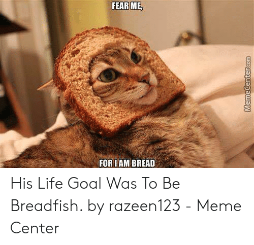 Life, Meme, and Goal: FEAR ME  FOR IAM BREAD His Life Goal Was To Be Breadfish. by razeen123 - Meme Center