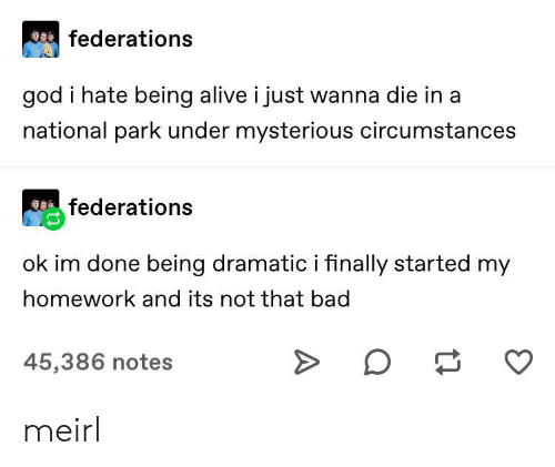 Alive, Bad, and God: federations  god i hate being alive i just wanna die in a  national park under mysterious circumstances  federations  ok im done being dramatic i finally started my  homework and its not that bad  45,386 notes meirl