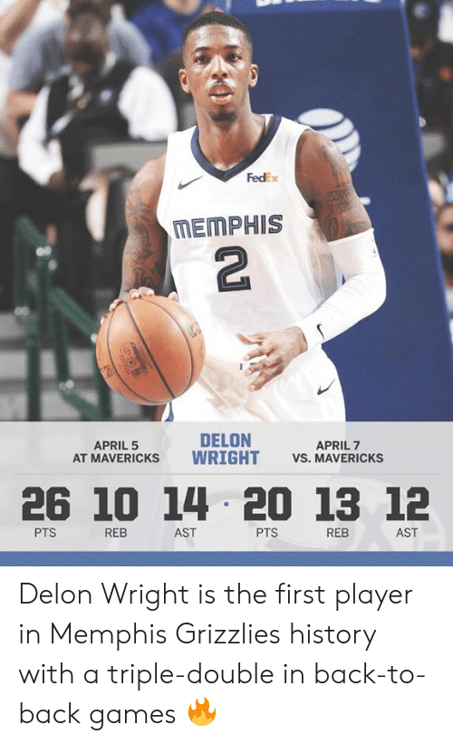 Back to Back, Memphis Grizzlies, and Memes: FedEx  MEMPHIS  2  DELON  AT MAVERICKS WRIGHT VS. MAVERICKSs  APRIL 5  APRIL 7  26 10 14 20 13 12  PTS  REB  AST  PTS  REB  AST Delon Wright is the first player in Memphis Grizzlies history with a triple-double in back-to-back games 🔥