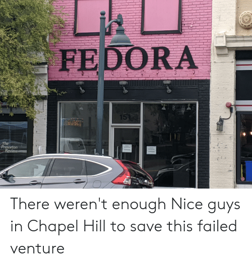 Fedora, Nice, and Princeton: FEDORA  1510  The  Princeton  Review There weren't enough Nice guys in Chapel Hill to save this failed venture