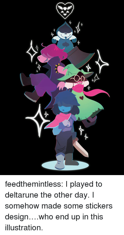Target, Tumblr, and Blog: feedthemintless:  I played to deltarune the other day. I somehow made some stickers design….who end up in this illustration.