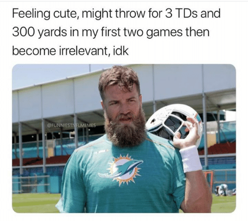 Cute, Nfl, and Games: Feeling cute, might throw for 3 TDs and  300 yards in my first two games then  become irrelevant, idk  FUNNIESTNFLMEMES