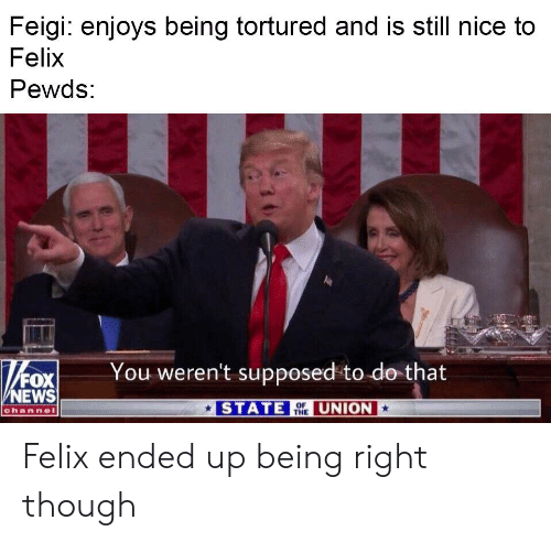 News, Fox News, and Nice: Feigi: enjoys being tortured and is still nice to  Felix  Pewds:  You weren't supposed to do that  FOX  NEWS  STATE UNION  channel  THE Felix ended up being right though