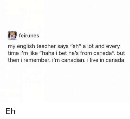 """I Bet, Memes, and Teacher: feirunes  my english teacher says """"eh"""" a lot and every  time i'm like """"haha i bet he's from canada"""". but  then i remember. i'm canadian. i live in canada Eh"""
