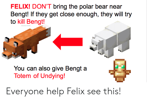 Bear, Help, and Polar Bear: FELIX! DON'T bring the polar bear near  Bengt! If they get close enough, they will try  to kill Bengt!  You can also give Bengt a  Totem of Undying! Everyone help Felix see this!