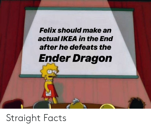 Facts, Ikea, and Dragon: Felix should make an  actual IKEA in the End  after he defeats the  Ender Dragon Straight Facts