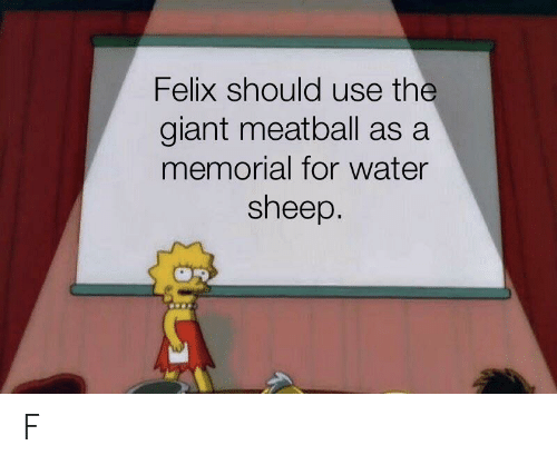 Giant, Water, and Sheep: Felix should use the  giant meatball as a  memorial for water  sheep. F