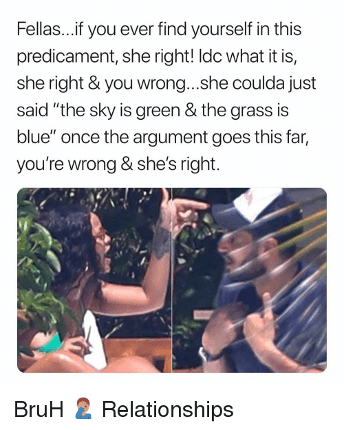 """Shes Right: Fellas...f you ever find yourself in this  predicament, she right! ldc what it is,  she right & you wrong...she coulda just  said """"the sky is green & the grass is  blue"""" once the argument goes this far,  you're wrong & she's right BruH 🤦🏽♂️ Relationships"""