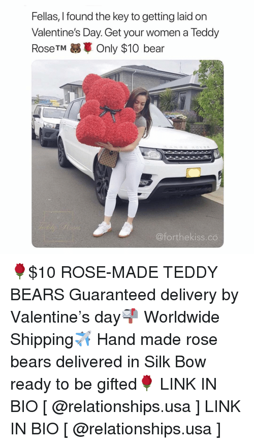 Relationships, Valentine's Day, and Bear: Fellas, I found the key to getting laid on  Valentine's Day. Get your women a Teddy  RoseTMOnly $10 bear  @forthekiss.co 🌹$10 ROSE-MADE TEDDY BEARS Guaranteed delivery by Valentine's day📬 Worldwide Shipping✈️ Hand made rose bears delivered in Silk Bow ready to be gifted🌹 LINK IN BIO [ @relationships.usa ] LINK IN BIO [ @relationships.usa ]