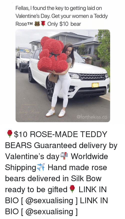 Valentine's Day, Bear, and Bears: Fellas, I found the key to getting laid on  Valentine's Day. Get your women a Teddy  RoseTM Only $10 bear  @forthekiss.co 🌹$10 ROSE-MADE TEDDY BEARS Guaranteed delivery by Valentine's day📬 Worldwide Shipping✈️ Hand made rose bears delivered in Silk Bow ready to be gifted🌹 LINK IN BIO [ @sexualising ] LINK IN BIO [ @sexualising ]