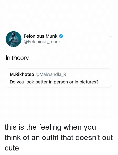 Cute, Pictures, and Relatable: Felonious Munk  @Felonious_munk  In theory.  M.Rikhotso @Malwandla_R  Do you look better in person or in pictures? this is the feeling when you think of an outfit that doesn't out cute