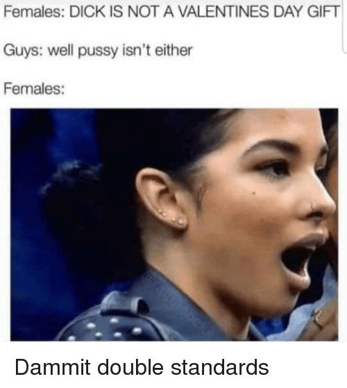 Pussy, Valentine's Day, and Dick: Females: DICK IS NOT A VALENTINES DAY GIFT  Guys: well pussy isn't either  Females: Dammit double standards