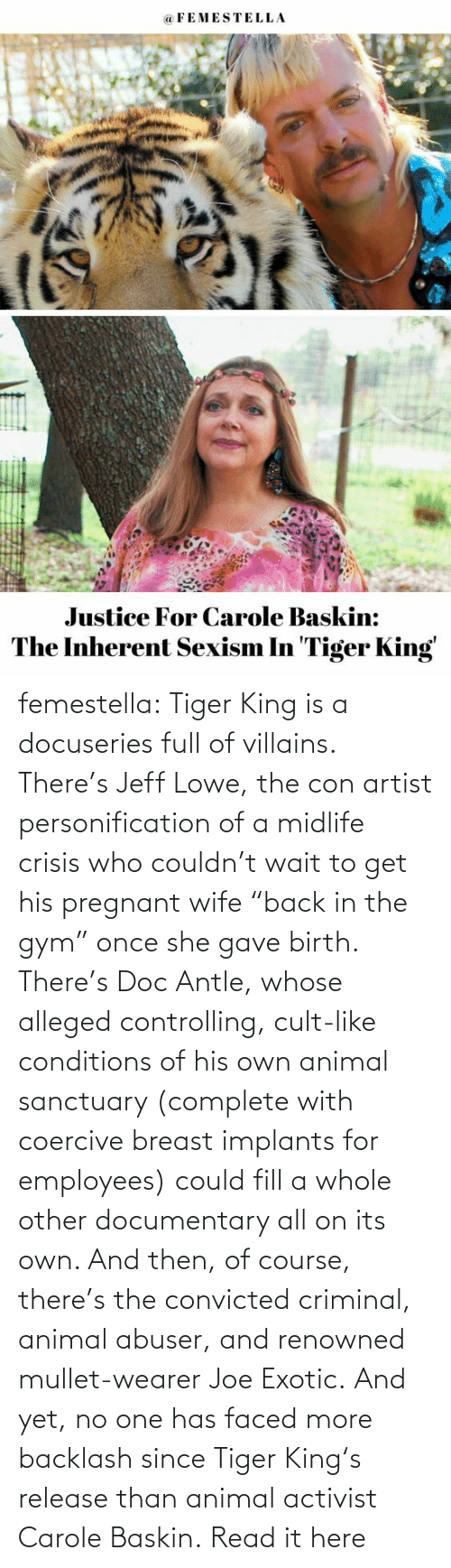 "Carole: femestella: Tiger King is a docuseries full of villains. There's Jeff Lowe, the con artist personification of a midlife crisis who couldn't wait to get his pregnant wife ""back in the gym"" once she gave birth. There's Doc Antle, whose alleged controlling, cult-like conditions of his own animal sanctuary (complete with coercive breast implants for employees) could fill a whole other documentary all on its own. And then, of course, there's the convicted criminal, animal abuser, and renowned mullet-wearer Joe Exotic. And yet, no one has faced more backlash since Tiger King's release than animal activist Carole Baskin. Read it here"