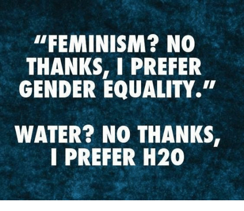 """Feminism, Water, and Gender: """"FEMINISM? NO  THANKS, I PREFER  GENDER EQUALITY.  WATER? NO THANKS  I PREFER H20"""