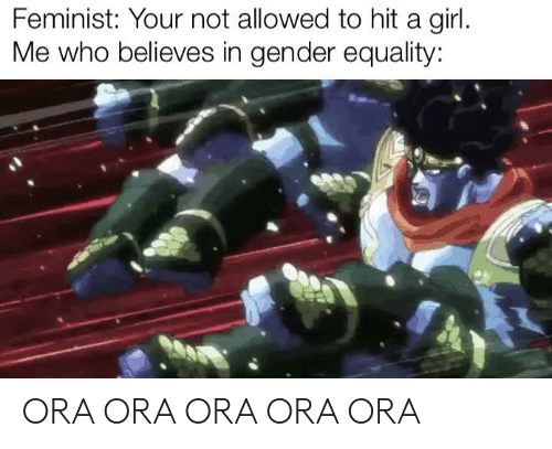 Allowed: Feminist: Your not allowed to hit a girl.  Me who believes in gender equality: ORA ORA ORA ORA ORA