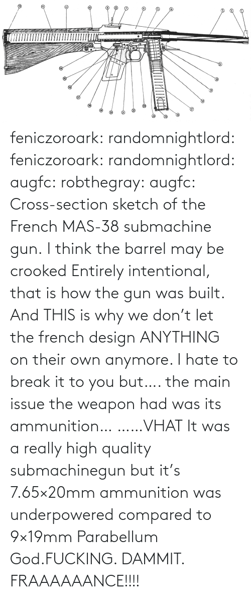 Dammit: feniczoroark:  randomnightlord:  feniczoroark:  randomnightlord:  augfc: robthegray:  augfc:  Cross-section sketch of the French MAS-38 submachine gun.   I think the barrel may be crooked  Entirely intentional, that is how the gun was built.    And THIS is why we don't let the french design ANYTHING on their own anymore.    I hate to break it to you but…. the main issue the weapon had was its ammunition…   ……VHAT   It was a really high quality submachinegun but it's 7.65×20mm ammunition was underpowered compared to 9×19mm Parabellum   God.FUCKING. DAMMIT. FRAAAAAANCE!!!!