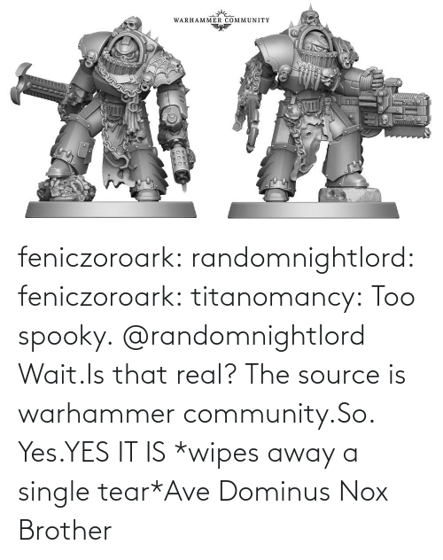 community: feniczoroark:  randomnightlord:  feniczoroark:  titanomancy:  Too spooky.   @randomnightlord    Wait.Is that real?    The source is warhammer community.So. Yes.YES IT IS   *wipes away a single tear*Ave Dominus Nox Brother
