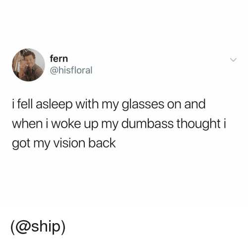 Vision, Glasses, and Dank Memes: fern  @hisfloral  i fell asleep with my glasses on and  when i woke up my dumbass thought i  got my vision back (@ship)