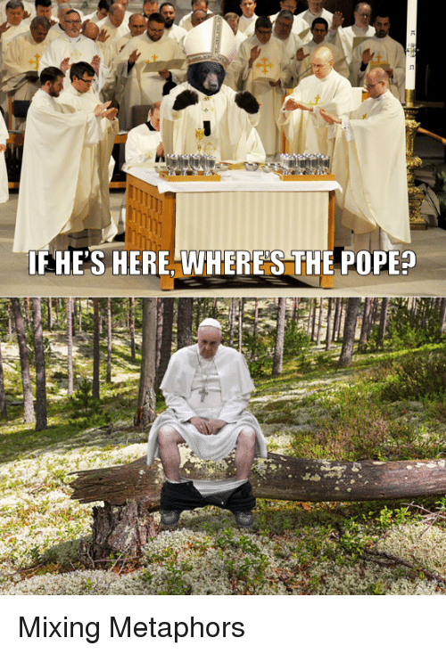 metaphors: FHE'S HERE, VWHERE S THE POPE? Mixing Metaphors