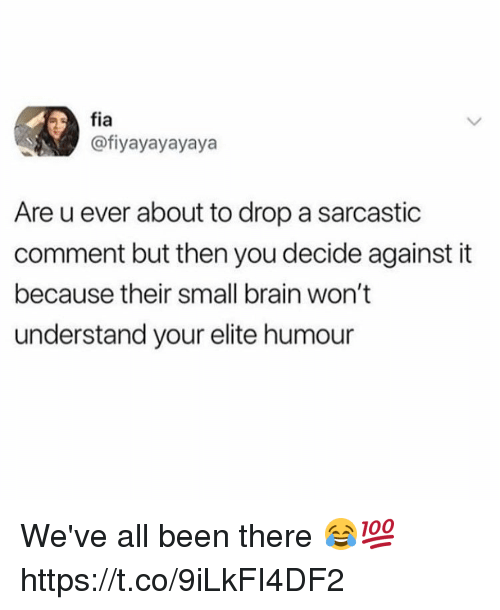 Memes, Brain, and Been: fia  @fiyayayayaya  Are u ever about to drop a sarcastic  comment but then you decide against it  because their small brain won't  understand your elite humour We've all been there 😂💯 https://t.co/9iLkFI4DF2
