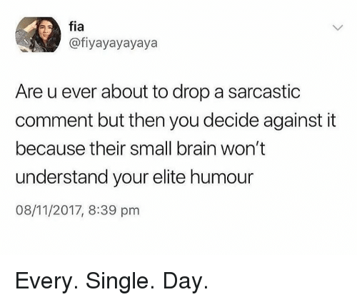 Dank, Brain, and Single: fia  @fiyayayayaya  Are u ever about to drop a sarcastic  comment but then you decide against it  because their small brain won't  understand your elite humour  08/11/2017, 8:39 pnm Every. Single. Day.
