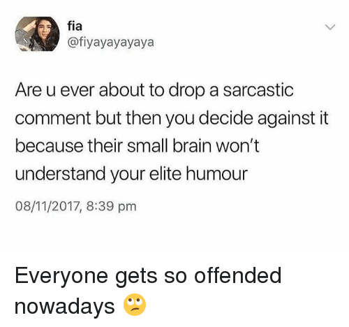 Dank, Brain, and 🤖: fia  @fiyayayayaya  Are u ever about to drop a sarcastic  comment but then you decide against it  because their small brain won't  understand your elite humour  08/11/2017, 8:39 pnm Everyone gets so offended nowadays 🙄