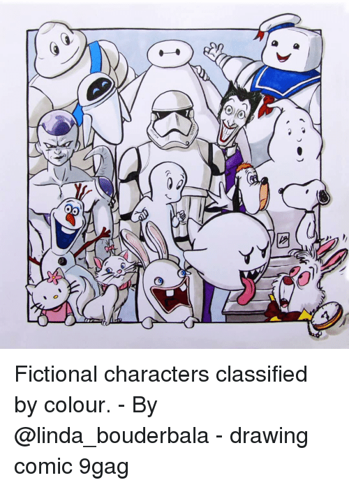 9gag, Memes, and Fictional: Fictional characters classified by colour. - By @linda_bouderbala - drawing comic 9gag