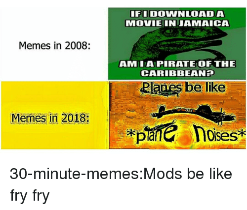 Be Like, Memes, and Target: FIDOWNLOADA  MOVIEINJAMAICA  Memes in 2008:  AMLAPIRATE OF THE  CARIBBEAN  Memes in 2018:  loises 30-minute-memes:Mods be like fry fry