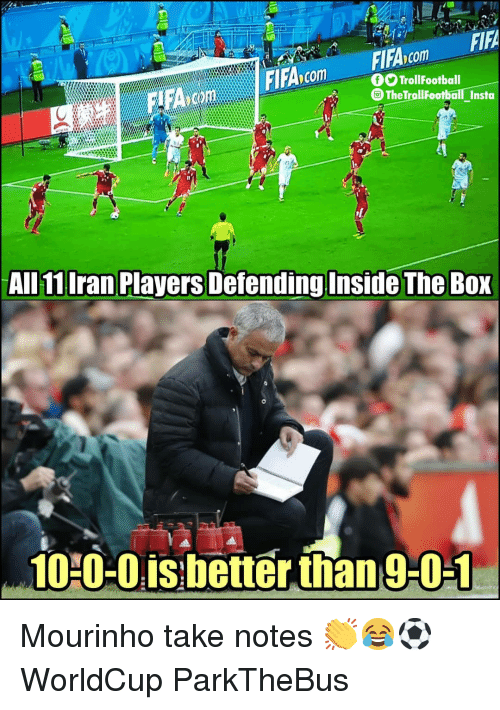 Fifa, Memes, and Iran: FIFA  FlFAcom  O TrollFootball  TheTrollFootballInsta  -  All 11 Iran Players Defending Inside The BoX  10 0-0is:better than 9-01 Mourinho take notes 👏😂⚽️ WorldCup ParkTheBus