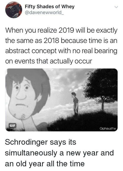 Gif, New Year's, and Time: Fifty Shades of Whey  @davenewworld  When you realize 2019 will be exactly  the same as 2018 because time is an  abstract concept with no real bearing  on events that actually occur  GIF  Orphousftw Schrodinger says its simultaneously a new year and an old year all the time
